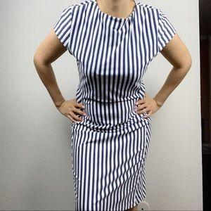 J.McLaughlin Striped Blue and White Dress Large